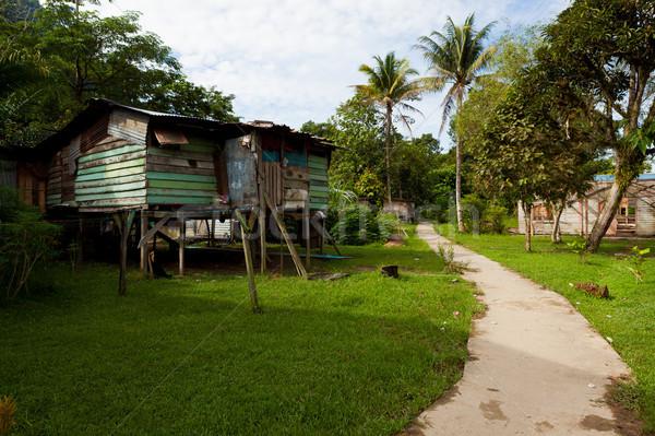 Klein dorp borneo Maleisië home pad Stockfoto © Juhku