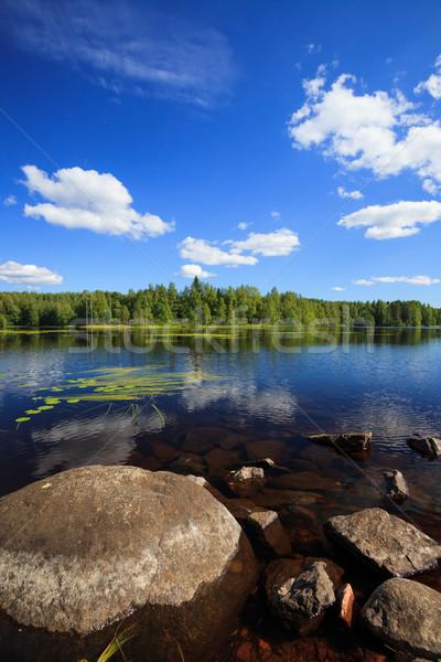 Zonnige meer landschap Finland hemel Stockfoto © Juhku