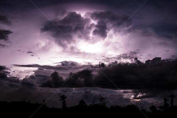 Yıldırım gece gökyüzü doğa manzara Stok fotoğraf © Juhku