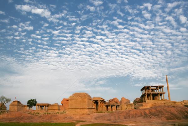 Edad ruinas India antigua edificio puesta de sol Foto stock © Juhku