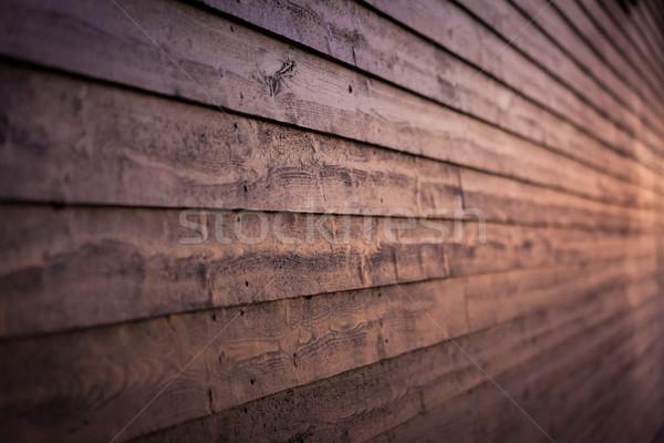 Bois mur crépuscule chaud bâtiment Photo stock © Juhku