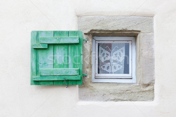Foto d'archivio: Piccolo · finestra · legno · dell'otturatore · verde · texture