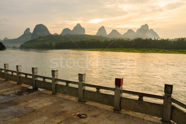 Li river landscape and empty street from yangshuo Stock photo © Juhku