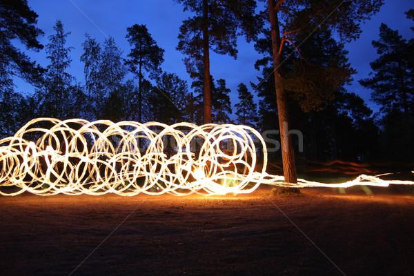 Yangın gece orman yangını orman uzun pozlama ağaç Stok fotoğraf © Juhku