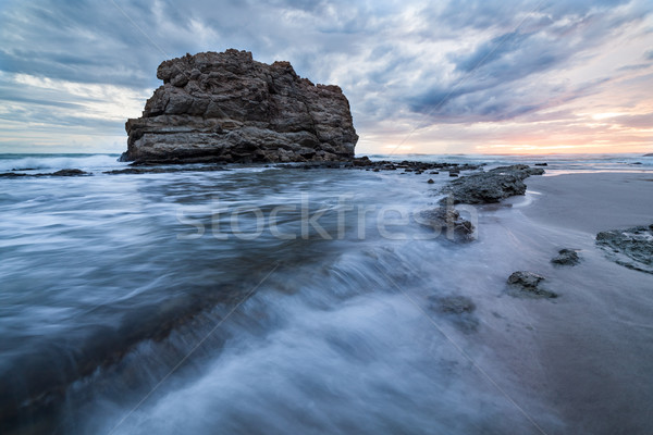Big rock beach sunset long exposure Stock photo © Juhku