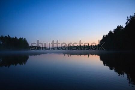Calm lake scape at summer night Stock photo © Juhku