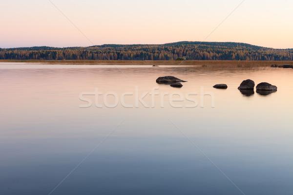 Derűs tó díszlet alkonyat Finnország nyár Stock fotó © Juhku