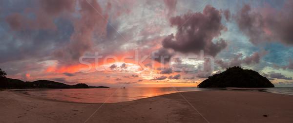 Stock photo: Beautiful vivid sunset at paradise beach