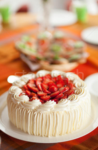 Delicious strawberry cake Stock photo © Juhku