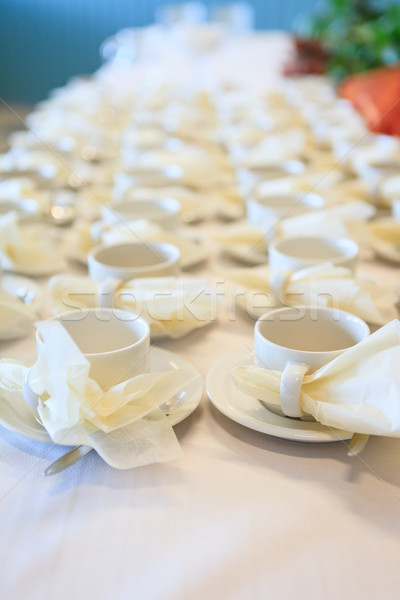 White coffee cups waiting for serving Stock photo © Juhku