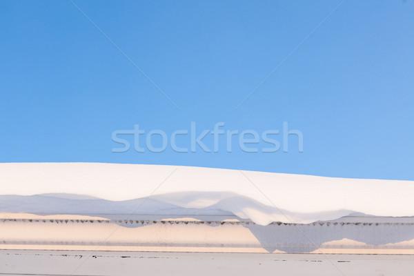 Rynna dachu pełny śniegu zimą wiosną Zdjęcia stock © Juhku