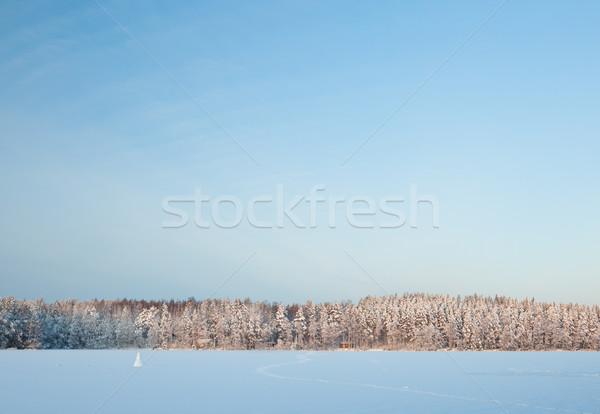 冬 湖 風景 フィンランド 日没 ストックフォト © Juhku