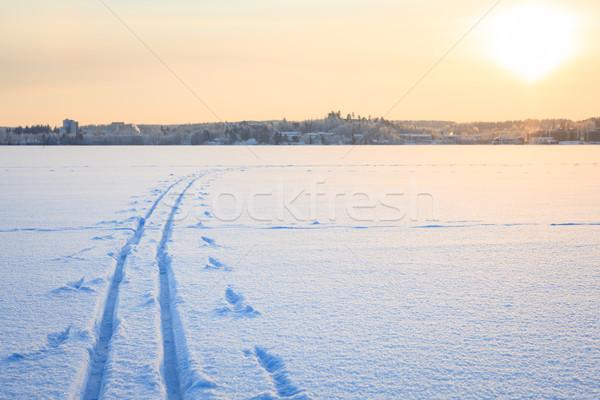 Stock fotó: Sí · hó · tó · tél · Finnország · naplemente