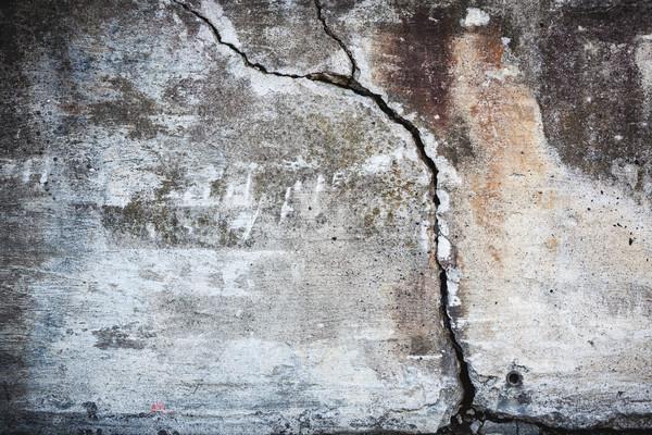 Foto stock: Grande · rachar · concreto · parede · velho · confuso