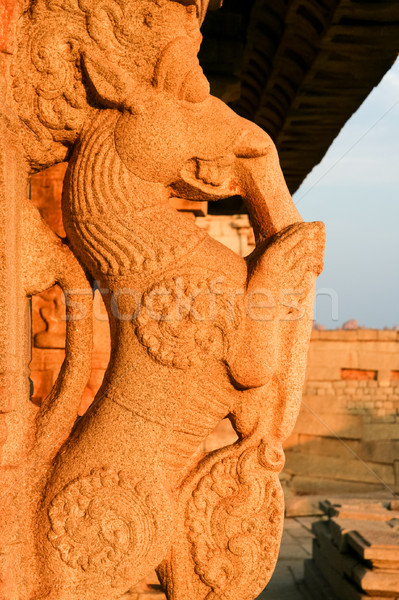 Stone carving on pillar in hampi Stock photo © Juhku