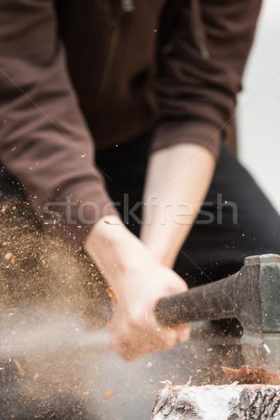 Сток-фото: древесины · стороны · топор · лет · коттедж