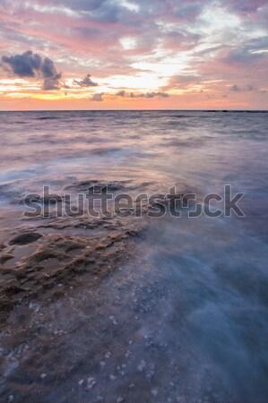 Długi czas ekspozycji morza skał zmierzch pejzaż morski wody Zdjęcia stock © Juhku