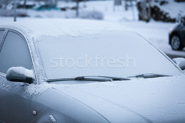 Araba kapalı don ön cam kar kış Stok fotoğraf © Juhku
