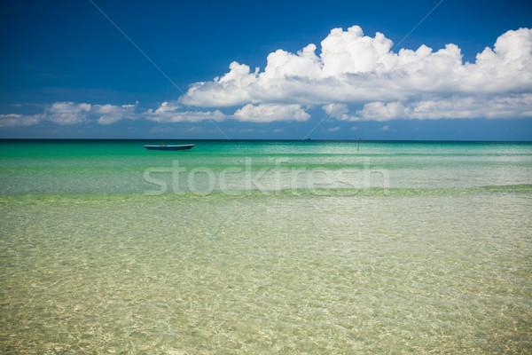 Rybak łodzi turkus wody dzień krajobraz Zdjęcia stock © Juhku