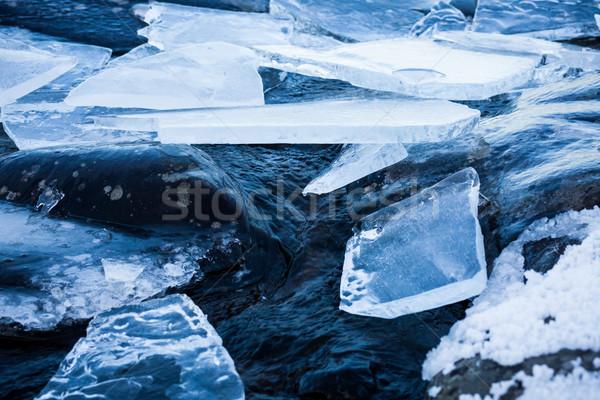 Pieces of ice at lakeside Stock photo © Juhku