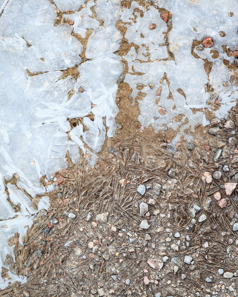 Frozen puddle and dirt road close-up Stock photo © Juhku