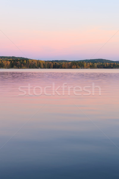 Serene lake scenery at dusk in Finland Stock photo © Juhku