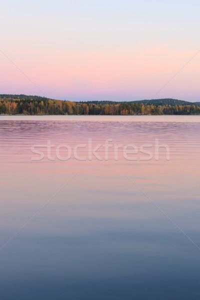 Sereen meer landschap schemering Finland zomer Stockfoto © Juhku