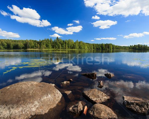 Сток-фото: Солнечный · озеро · пейзаж · Финляндия · воды