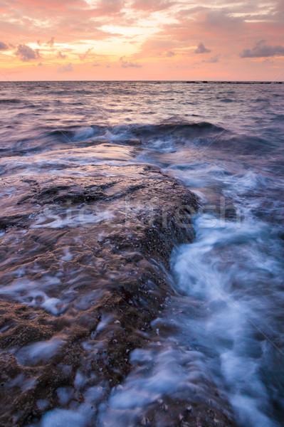 Lange blootstelling zee rotsen schemering zeegezicht water Stockfoto © Juhku