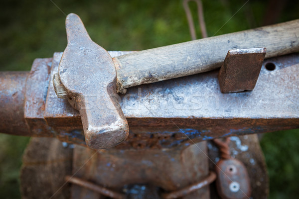 Worn iron anvil and hammer Stock photo © Juhku
