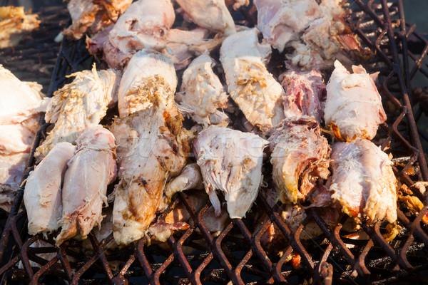 Varkensvlees vlees gegrild open vuur buitenshuis diner Stockfoto © Juhku