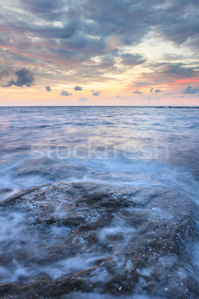 Hosszú expozíció tenger kövek szürkület tengeri kilátás hullámok Stock fotó © Juhku