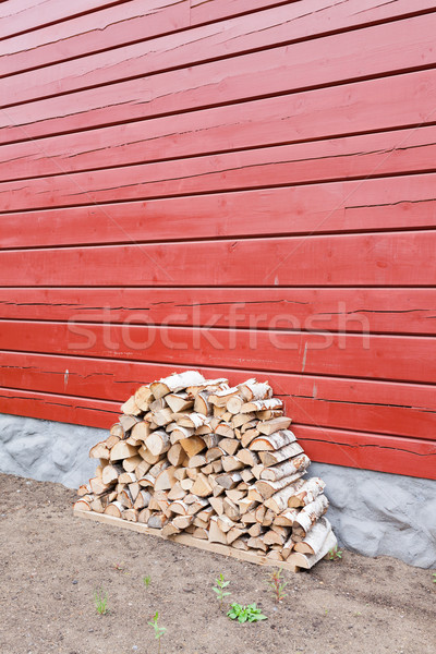 Firewood pile stored outside Stock photo © Juhku