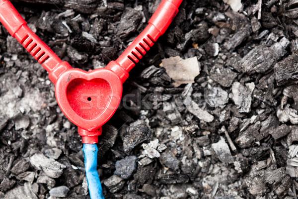 Műanyag játék sztetoszkóp föld elhagyatott háború Stock fotó © Juhku