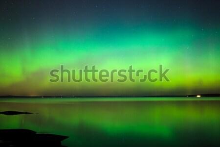 Northern lights aurora borealis landscape Stock photo © Juhku