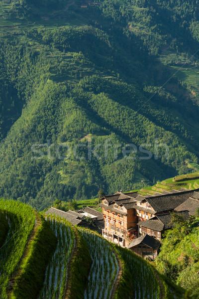 Stock fotó: Tájkép · rizs · falu · Kína · fotó · felhők