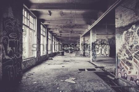 öreg elhagyatott gyár előcsarnok graffiti épület Stock fotó © Juhku