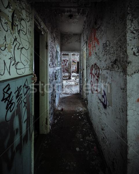 Scary abandoned corridor with hidden hand Stock photo © Juhku