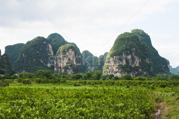 Karst mountains landscape in southern china Stock photo © Juhku
