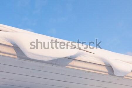 Goot dak vol sneeuw winter voorjaar Stockfoto © Juhku
