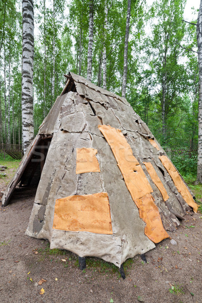 Birch bark hut Stock photo © Juhku