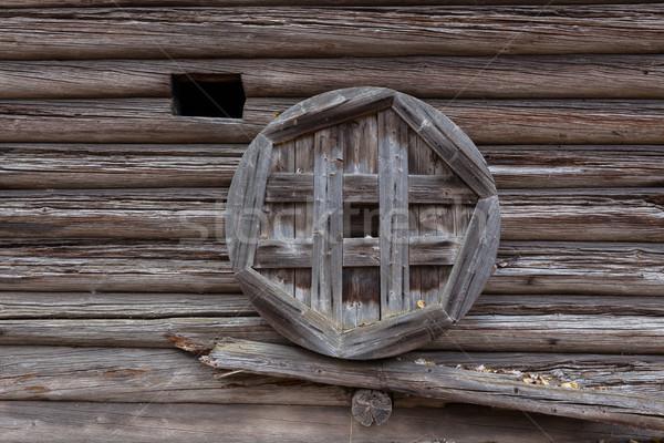 Oude houten schuur muur buitenkant donkere Stockfoto © Juhku