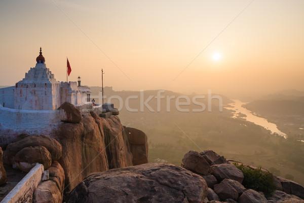 Monkey temple at sunrise hampi india  Stock photo © Juhku