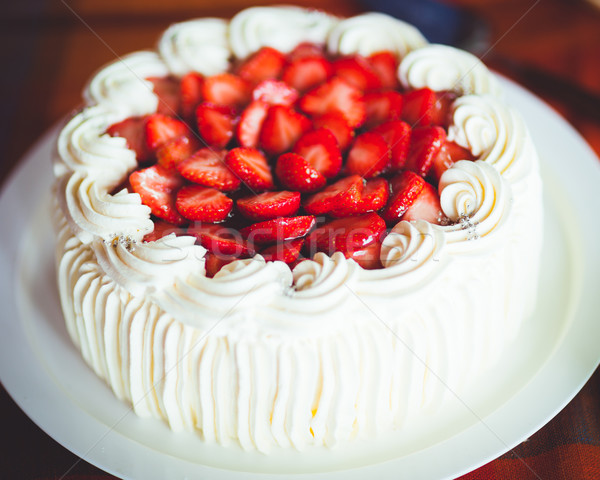 Delicious strawberry cake with whipped cream Stock photo © Juhku
