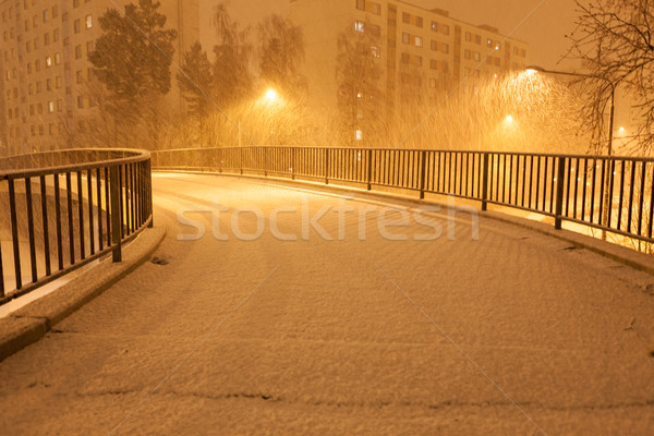 Lots of snowfall and empty walkway Stock photo © Juhku
