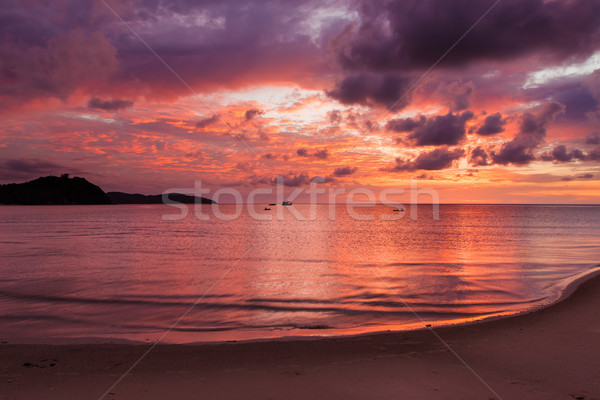 Beautiful vivid sunset at paradise beach Stock photo © Juhku