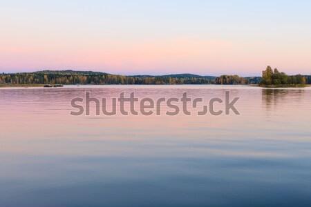 穏やかな 湖 風景 夕暮れ フィンランド 夏 ストックフォト © Juhku