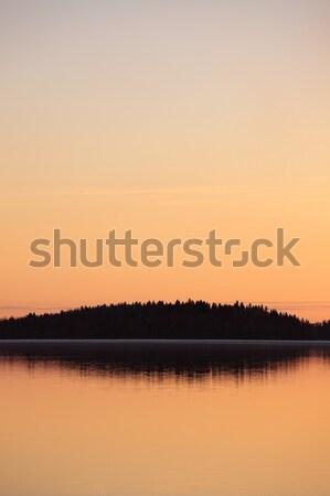 Spokojny jezioro zmierzch zachód słońca niebo lasu Zdjęcia stock © Juhku