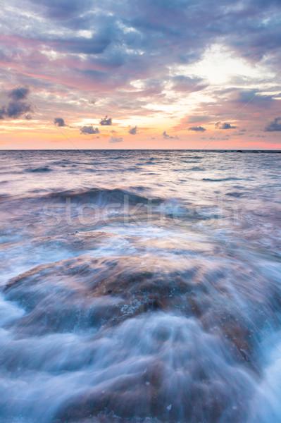 La exposición a largo mar rocas crepúsculo marina agua Foto stock © Juhku