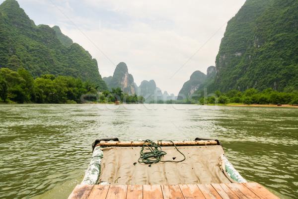 Bamboo rafting li river china Stock photo © Juhku